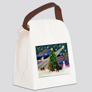 Xmas Magic & Doxie Pair Canvas Lunch Bag